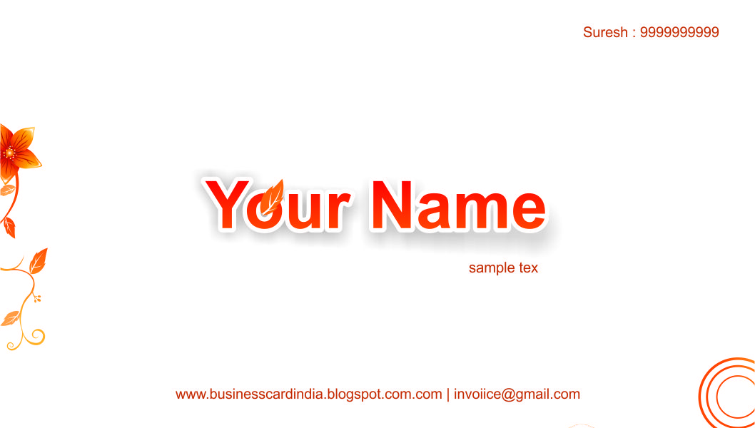 Business card india templates design free download uniq visiting 5786 orange flower and white colour simply visiting card editable format free download reheart Image collections