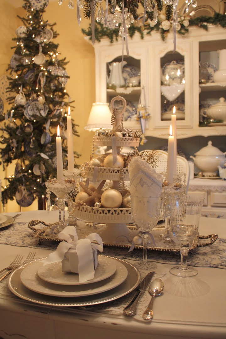 My romantic home setting a beautiful table Christmas table top decorations
