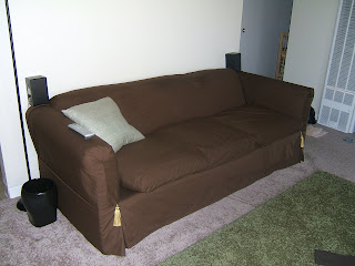 Brown couch in the living room