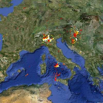 Clicca sull'immagine per visualizzare la MAPPA INTERATTIVA con evidenziate le zone di caduta Fulmini, utilizzando Google Maps