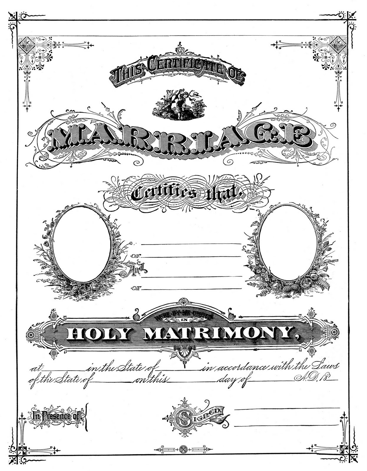 Witty image in printable marriage certificate
