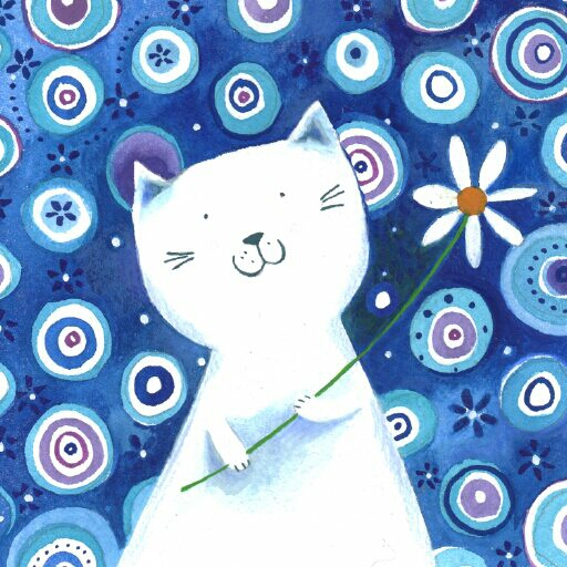 White Cat With Flower Hy Birthday