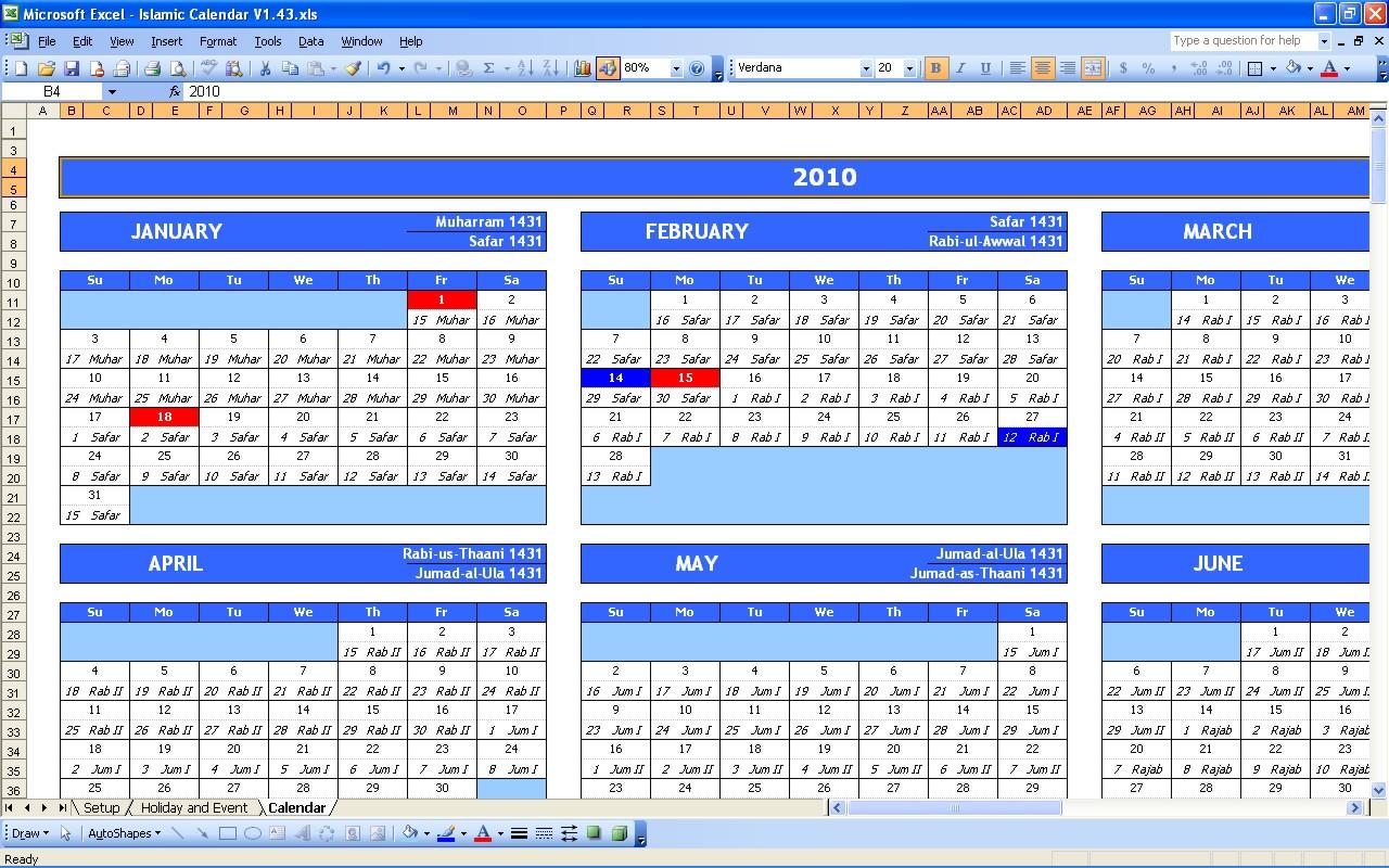 Download calendar template excel