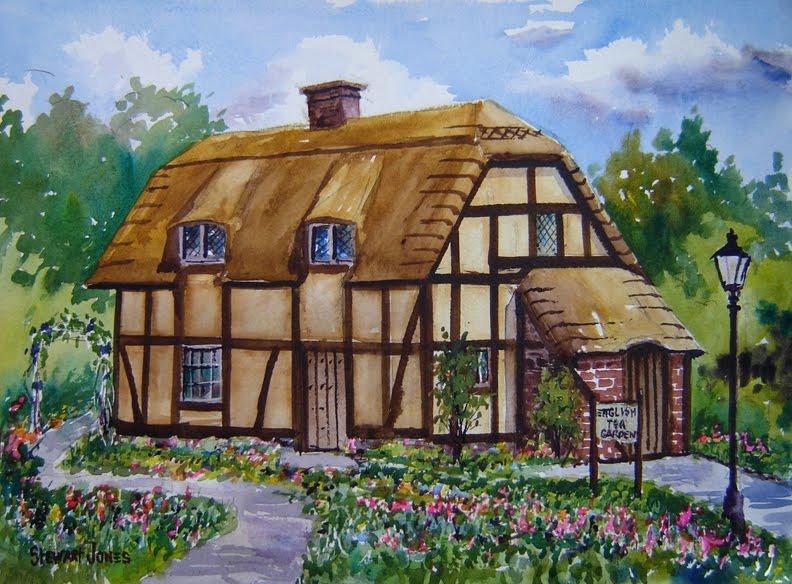 Stewart Jones Art English Tea Cottage