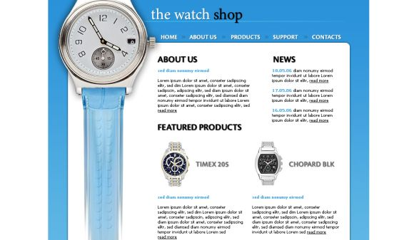 Free HTML Watch Shop Blue Website Template