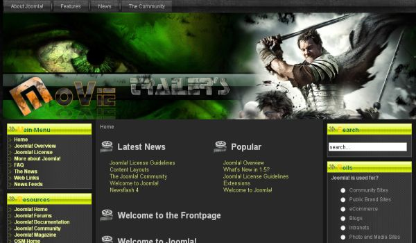 Movies Videos Black Joomla Template