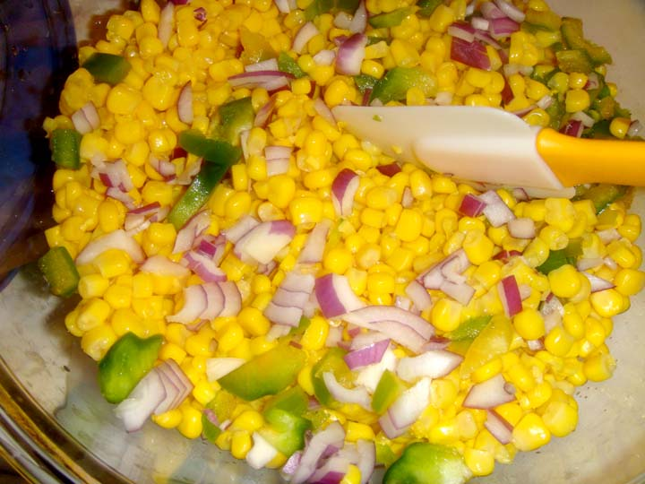 Step 2: Open and drain corn. Put all ingredients together. Mix well ...