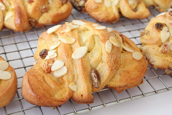Diary Foods: Custard Raisin Fan Rolls Recipes