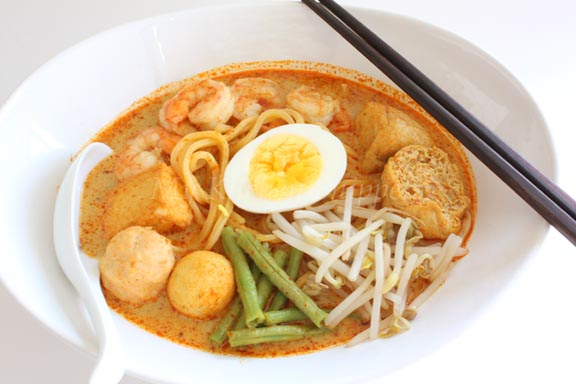 laksa curry. of piping hot curry laksa.