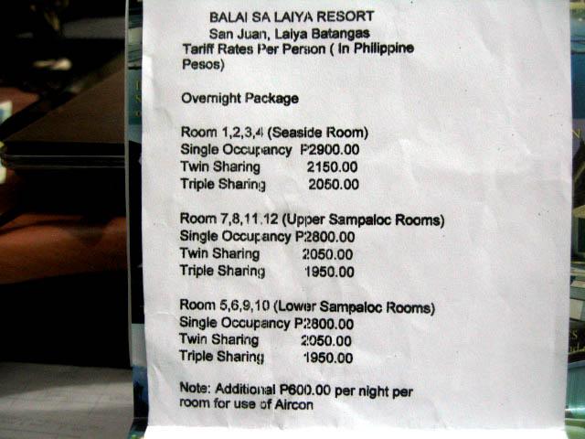 Munting Buhangin Beach Resort Price List