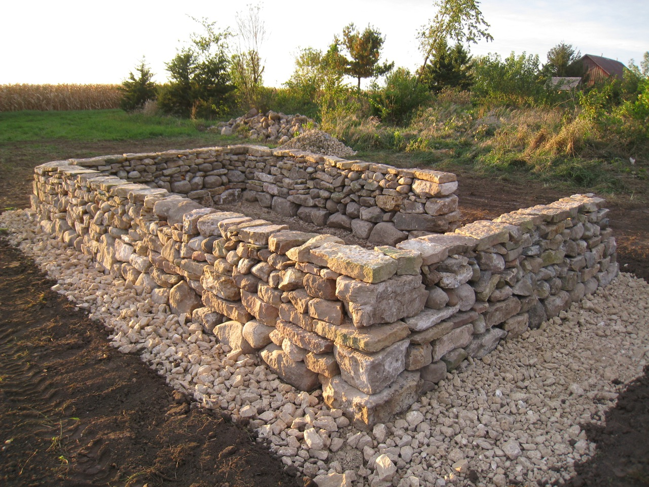 how to build a dry stone wall foundation