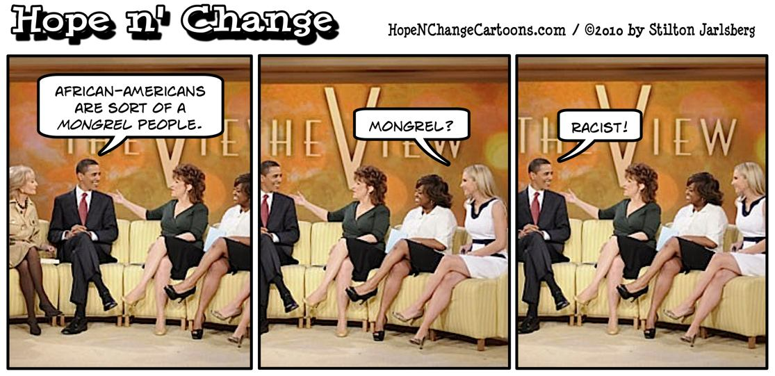 On The View, Barack Obama declares black people to be mongrels, but doesn't want to hear a white person say it; hope and change, hopenchange