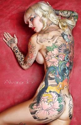 Full Body Back Tattoo Design Girl