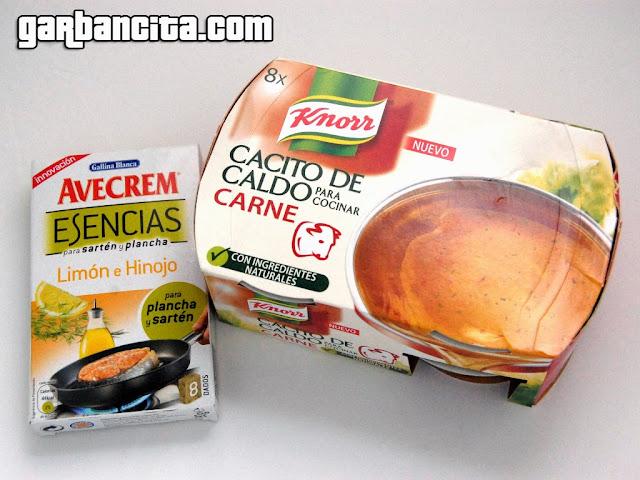 Cacito de caldo de carne Knorr y Esencias para sartén y plancha de Avecrem