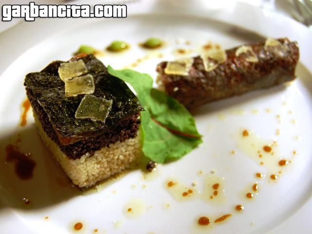 Marinado de atún con couscous y alga nori