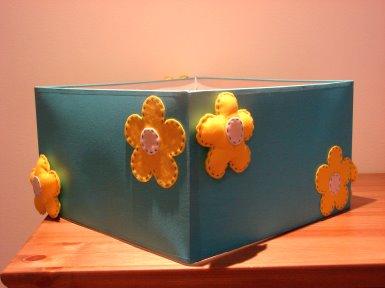 Candeeiro Flores Quadrado turquesa/amarelo NOVIDADE
