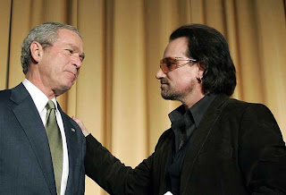 "Bush with fellow savior of mankind Paul David Hewson, also known as ""Bono"""