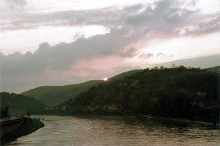 A sunrise over the Neckar River in Heidelberg, Germany, spring 1971