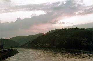 A sunrise over the Neckar River in Heidelberg, Germany, spring 1971