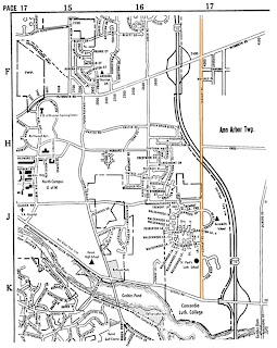 Map of Ann Arbor showing Earhart Road