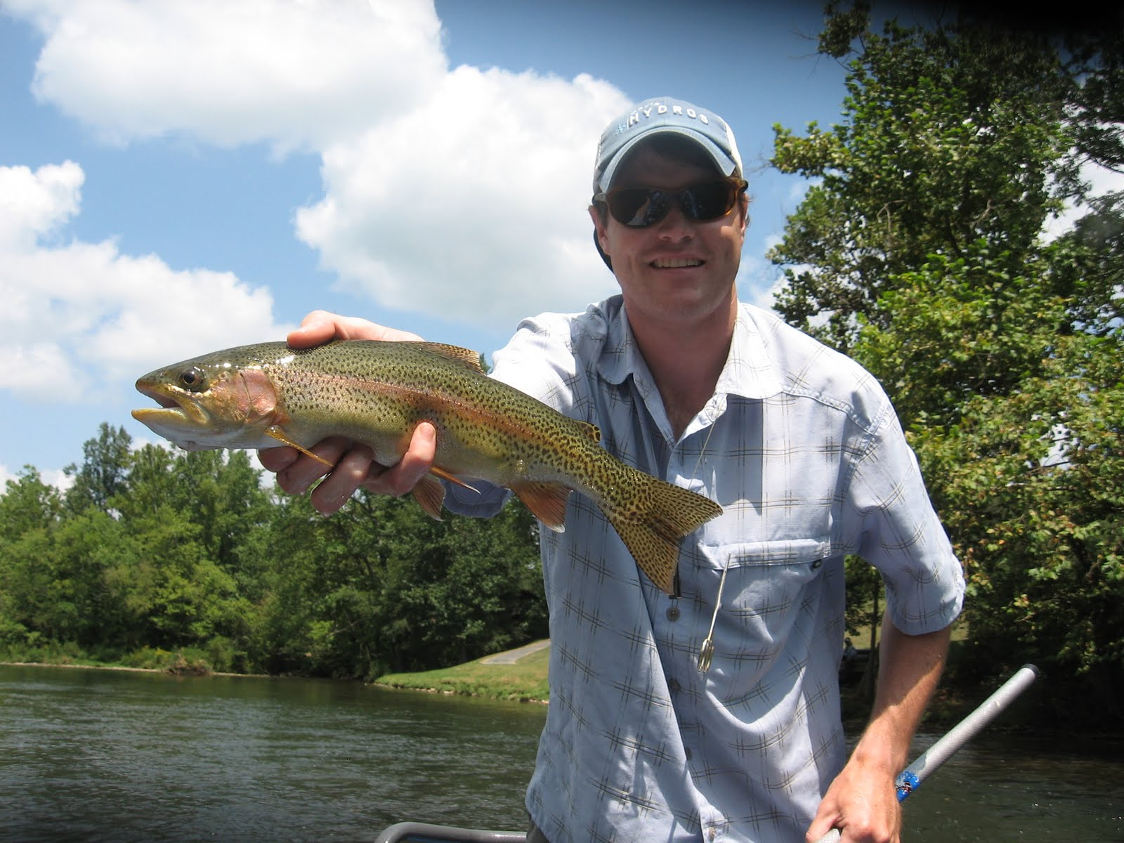 Brown trout fly fishing watauga river float trip august for Watauga river fishing