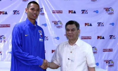Japeth Aguilar and Commissioner Sonny Barrios