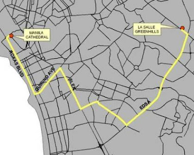 Procession Route courtesy of GMANews.TV
