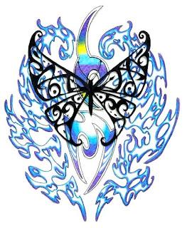 design black tribal butterfly tattoo and blue tribal tattoo