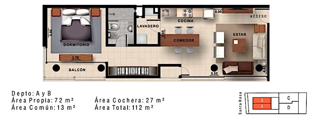Rosas 121 deptos departamentos tipo a y b for Cocina y lavadero integrados