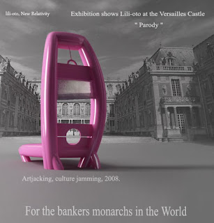 Jeff Koons parodied by lili-oto on his exhibition at Versailles Castle, for the bankers monarchs of the banks in the world, for the golden parachute, the only work of art news for the whole year, the artistic movement of the new relativity, artjacking, jamming culture, 2008