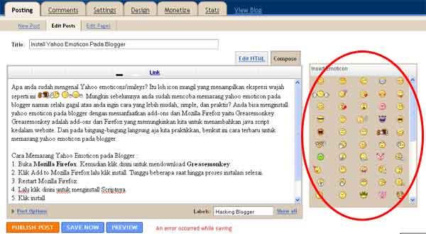 yahoo emoticon pada postingan blogger