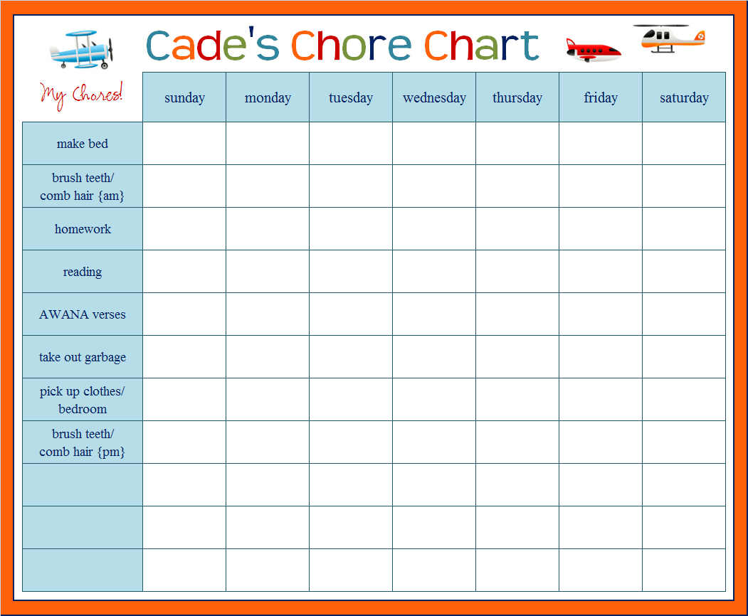 free customizable chore chart template