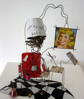 Lynn Walters metal wire sculpture - Hair Raiser 2000