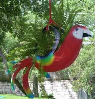 Recycled red parrot planter made from tire