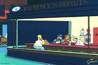 Homer Simpson in Edward Hopper's Nighthawks