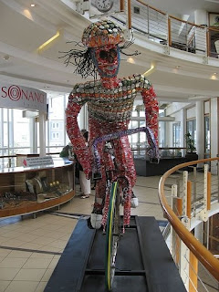 Recycled Coca-Cola Cans Art - Bike Rider