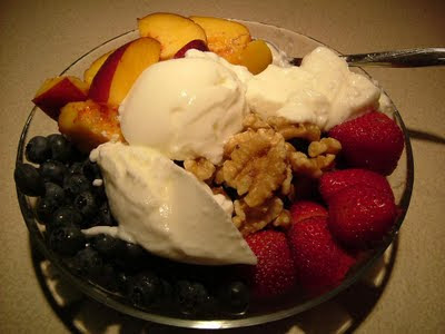 Breakfast with lots of juicy fruit and berries