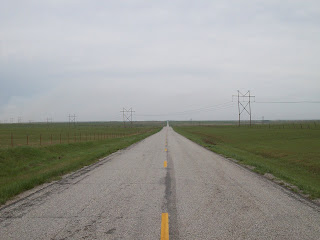 Long endless road through Kansas