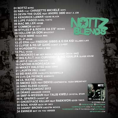 dj critical hype nottz blends hosted by nottz back cover and track listing