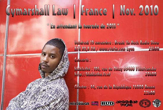 concert hip hop rouen : cyamrshall law au chester cafe le mercredi 24 novembre 2010