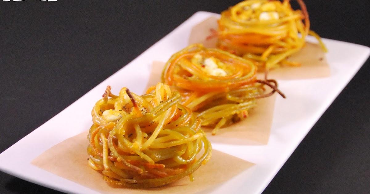 Nidos de espaguetti a los tres quesos l 39 exquisit - Como decorar platos ...