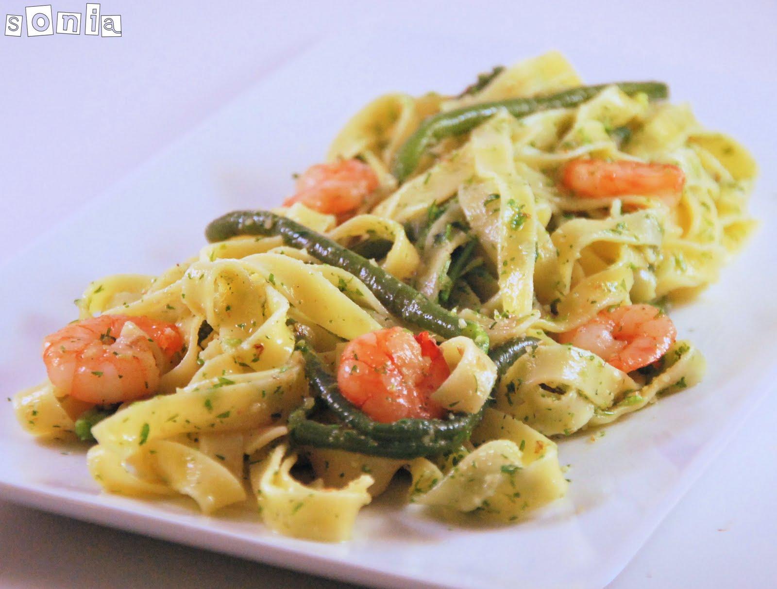 33 recetas de pasta con marisco pepekitchen - Como hacer espaguetis al pesto ...
