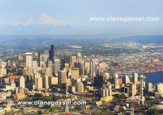 Seattle aerial photography airplane mount rainier cityscape landscape space needle may june july summer weather komo 4 clane gessel photography airplane boeing field