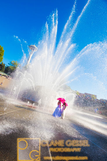 trash the dress international fountain at the seattle center photos, pictures