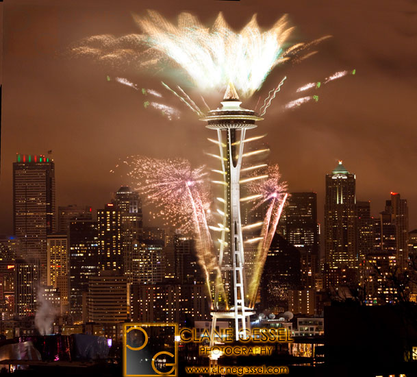 The Space Needle fireworks on New Year's Eve
