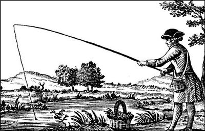 Английская ксилография Рыбные пруды рыбалка