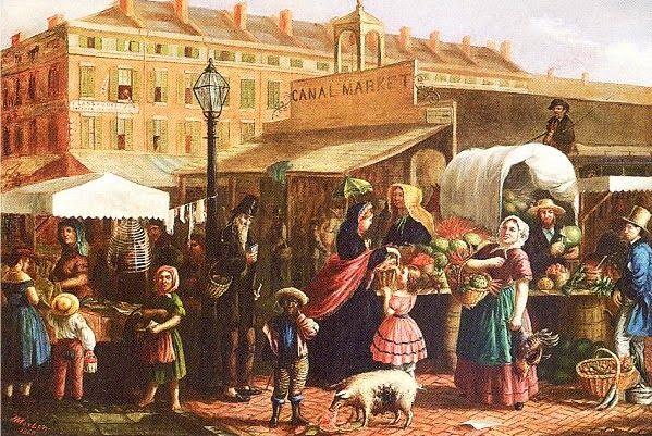 Henry Mosler American artist 1841 1920 Canal Street Market