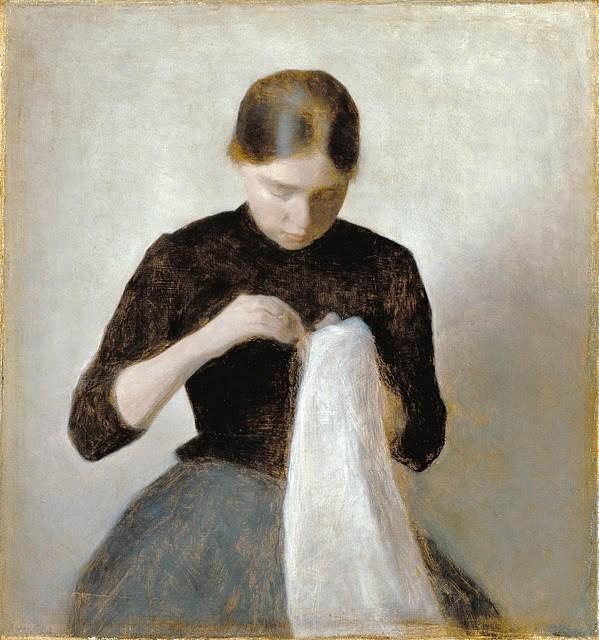 Vilhelm Hammershøi, Young Girl Sewing (Une jeune fille à coudre, Joven cosiendo)
