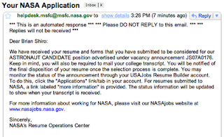 Astronaut application submitted   Astronaut for Hire