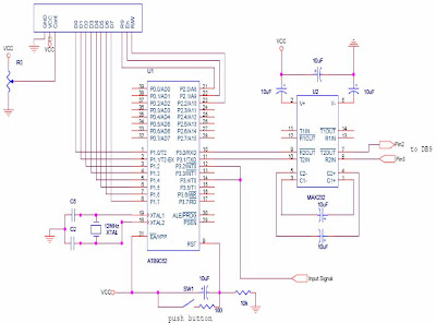 Circuit diagram of Frequency Counter and Pulse Width Measurement System, Cum Digital Clock